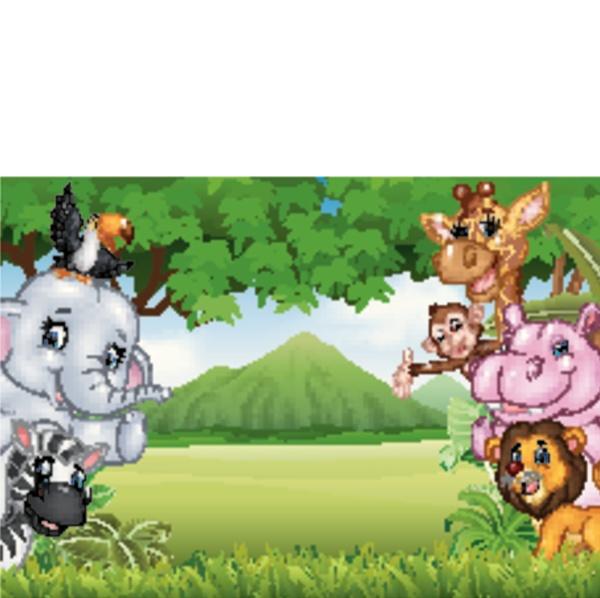 wilde tiere der karikatur mit naturlandschaftshintergrund