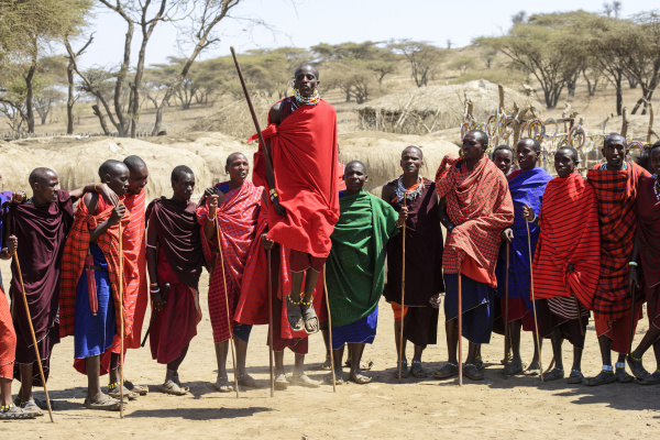 maasai warriors speearing far coloured clothing