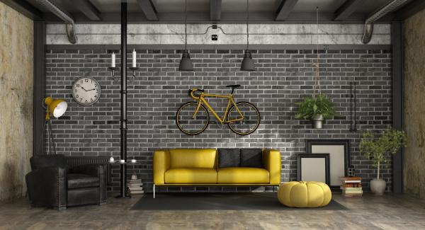 schwarzes und gelbes wohnzimmer in einem