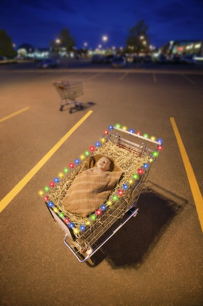parking lot with baby jesus in