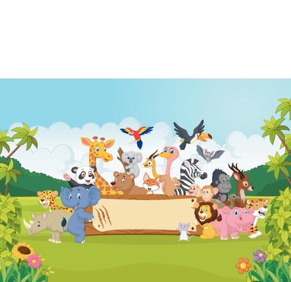 cartoon wildtiere halten banner