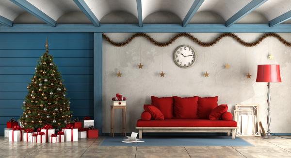wohnzimmer mit christams dekoration