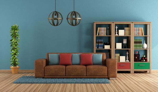 blaues retro wohnzimmer