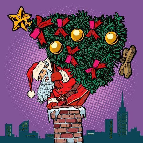 weihnachtsmann mit weihnachtsbaum klettert den schornstein