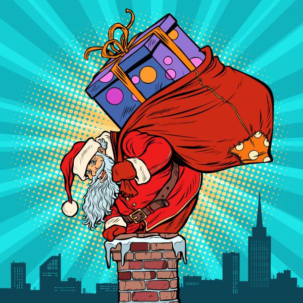 weihnachtsmann mit einer tuete geschenke die