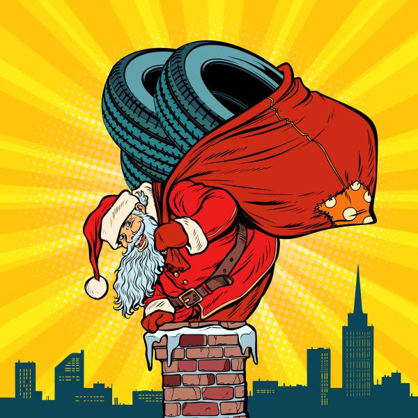 auto winterreifen santa claus mit geschenken
