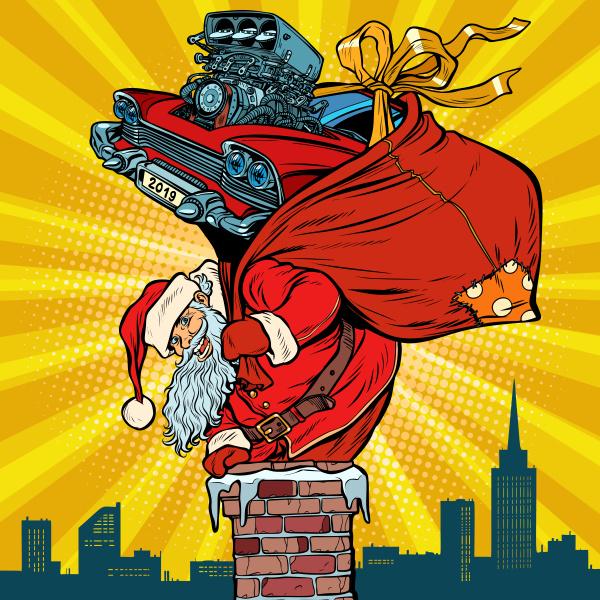 retro rennwagen santa claus mit geschenken