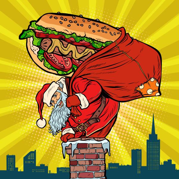 weihnachtsmann mit einem hot dog klettert