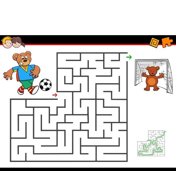 karikaturlabyrinthtaetigkeit mit dem baeren der fussball