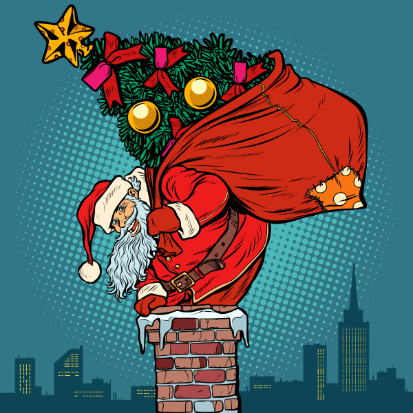 weihnachtsmann mit weihnachtsbaum in einer tuete