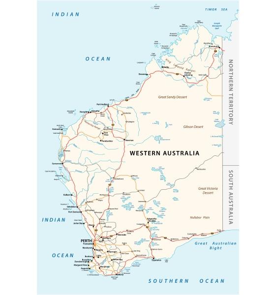 straßenvektorkarte, des, westaustralischen, bundesstaates - 25964201