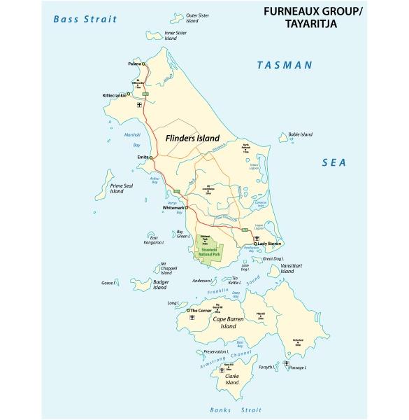 karte von furneaux group flinders island