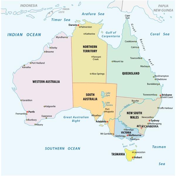 einfache vektorumrisskarte von australien