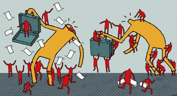 arbeiter attackieren geschaeftsleute