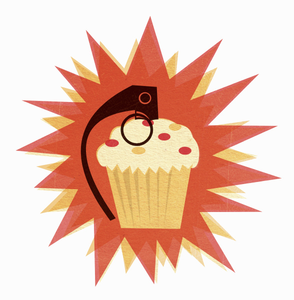 ausloeser an cupcake befestigt