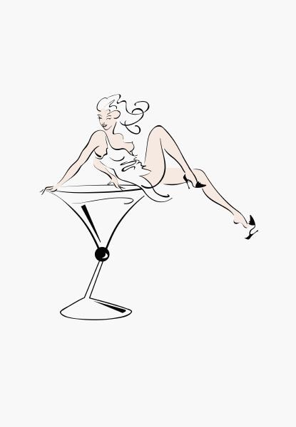 sexy frau sitzt im cocktailglas