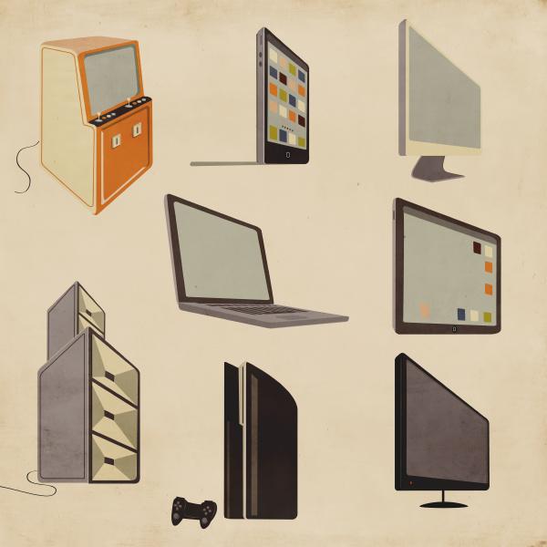 moderne und altmodische computer unterhaltungs und