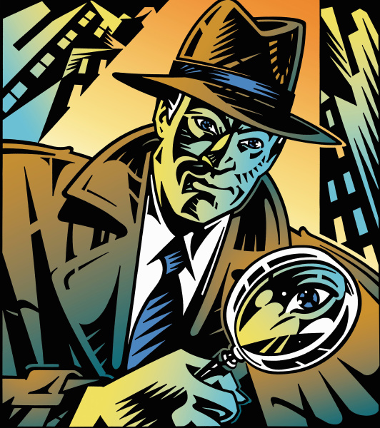 retro detektiv schaut durch lupe in