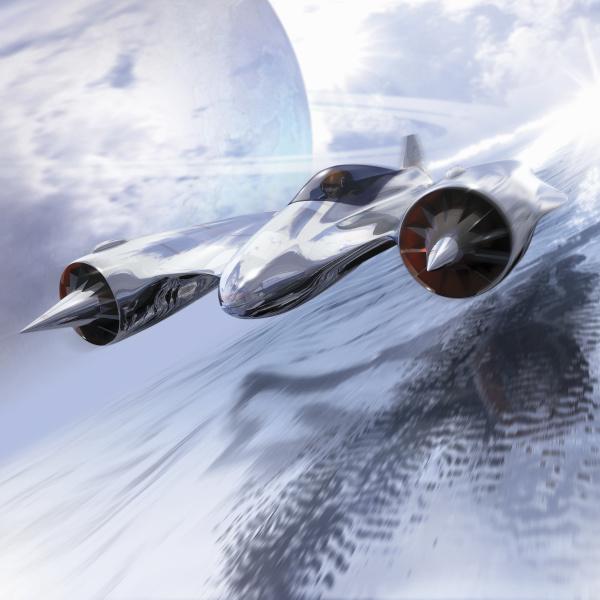 futuristisches jetflugzeug fliegt