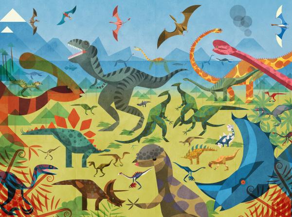 viele dinosaurier in bunten szenen