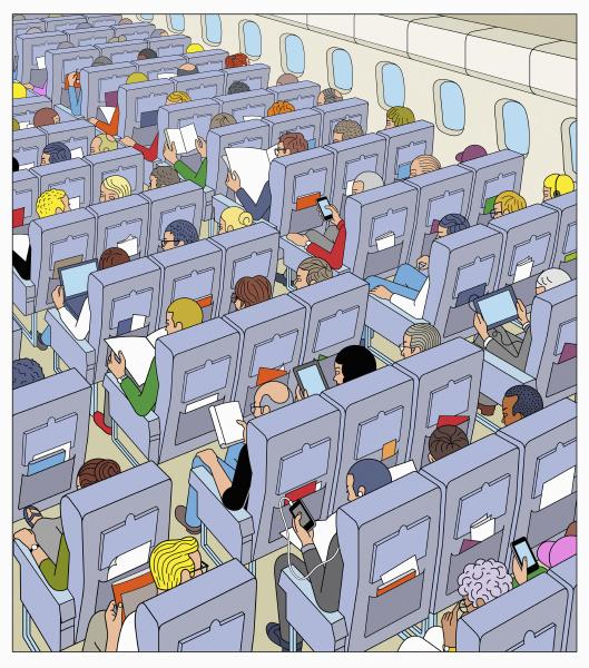 viele passagiere auf flug mit dem