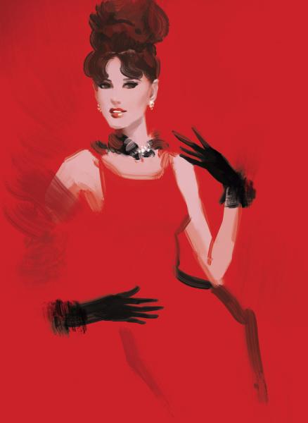 schoenes modemodell mit rotem kleid