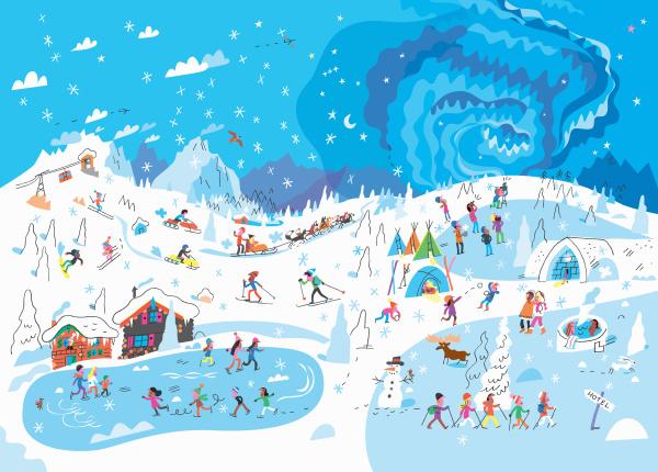 viele menschen geniessen winteraktivitaeten im skigebiet