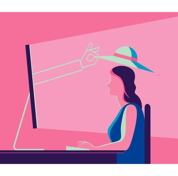 hand aus computerbildschirm auf den kopf