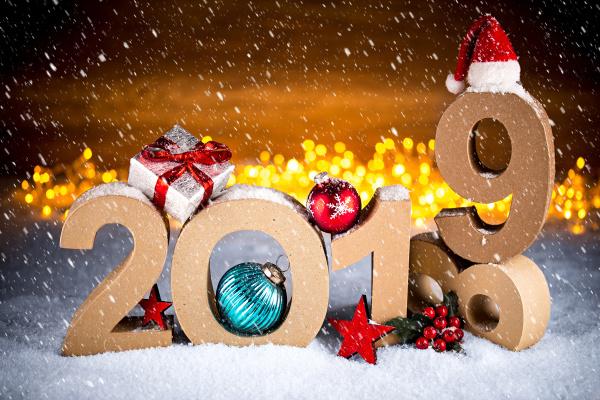 2019 gluecklich neues jahr weihnachten grusskarte