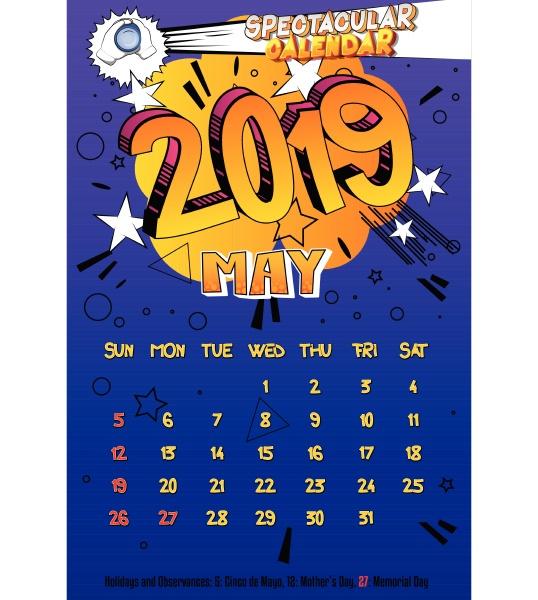 kalendervorlage fuer 2019 mai