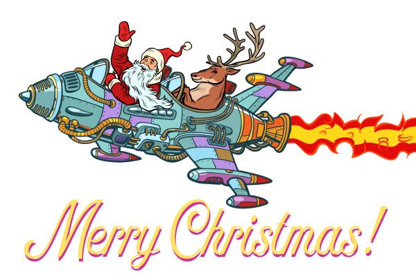 frohe weihnachten retro santa claus mit