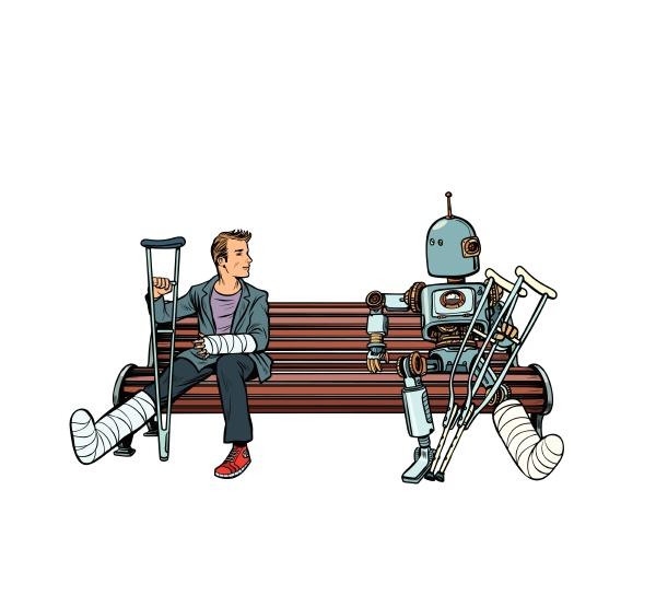 ein roboter und ein mann mit