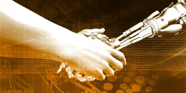 mann und maschine handshake