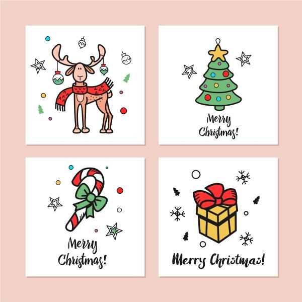 ein satz von weihnachtskarten von hand