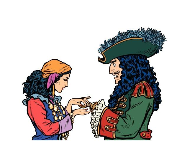 wahrsager und pirat mit einem haken