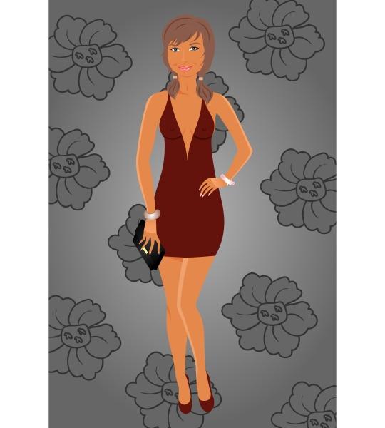 illustration mode glamour maedchen im kleid