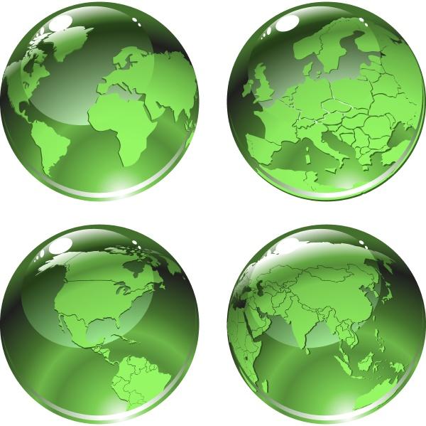 vektor illustration von gruenen globus icons