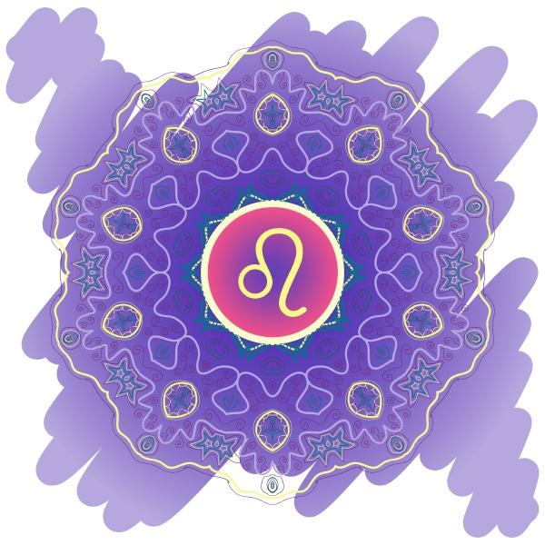 tierkreiszeichen der loewe leo violett blau
