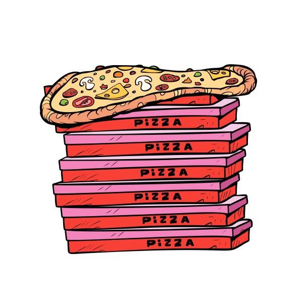 pizza box viel isolieren auf weissem