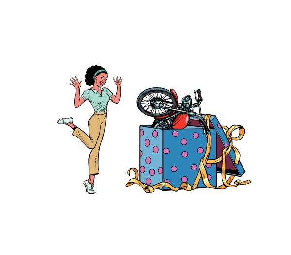 motorrad urlaub geschenk box afrikanische frau