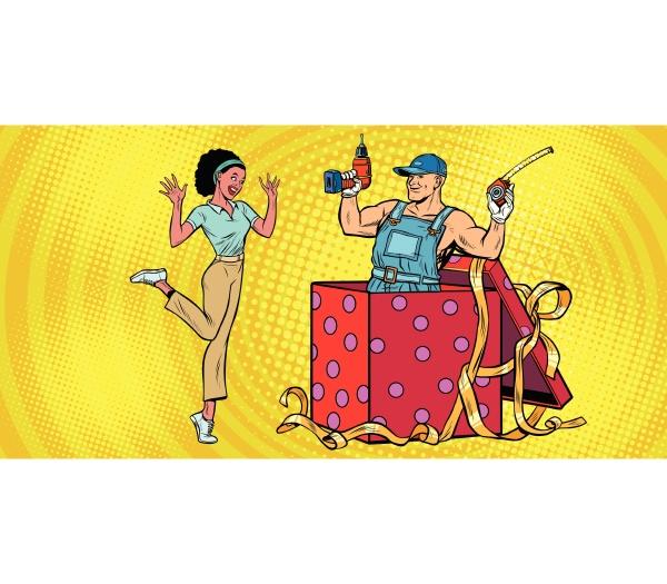 drill, worker, weihnachtsgeschenkbox., afrikanische, frau, lustige - 26598298