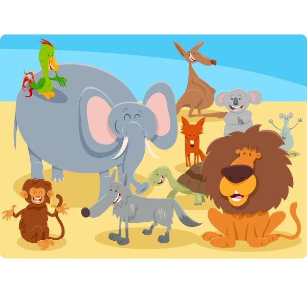 zeichentrickgruppe glueckliche tierfiguren