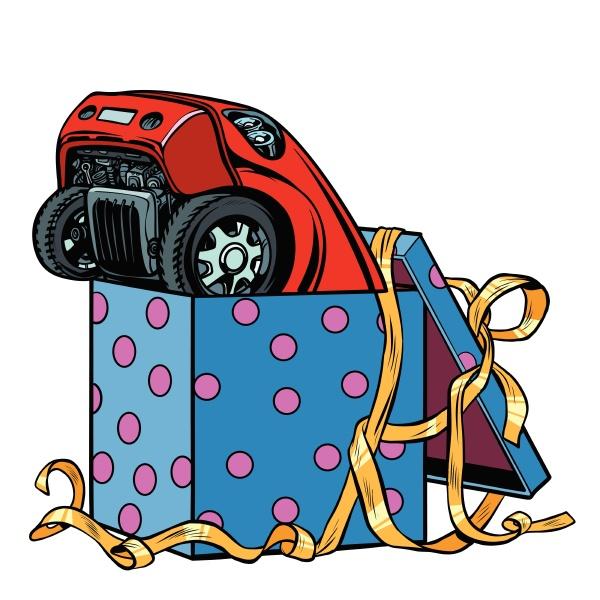 auto in einer geschenkbox