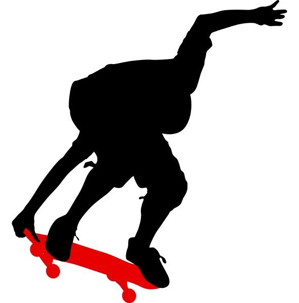 silhouetten ein skateboarder fuehrt springen vektor