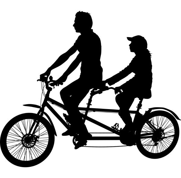 silhouette von zwei athleten auf tandem