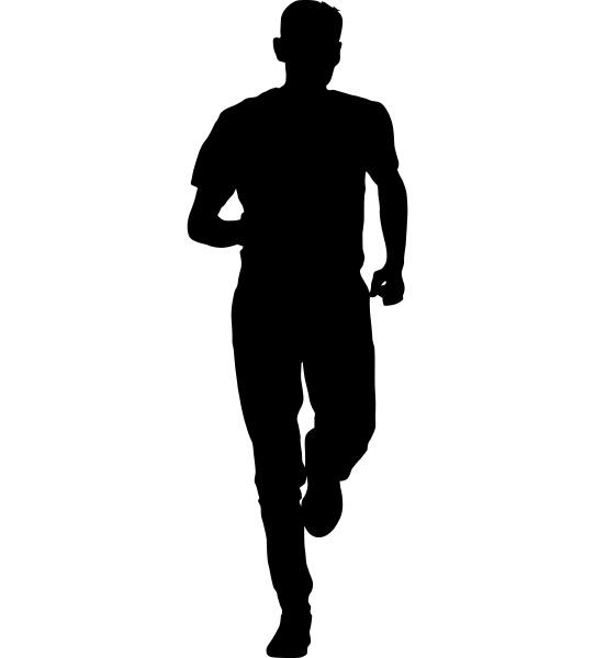 schwarze silhouetten laeufer sprinten maenner auf
