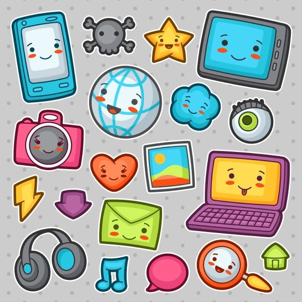 kawaii gadgets social network elemente doodles