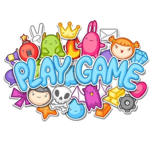 spiel kawaii design nette gaming elemente