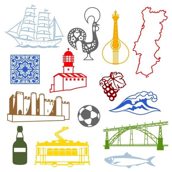 portugal symbole gesetzt traditionelle traditionelle symbole