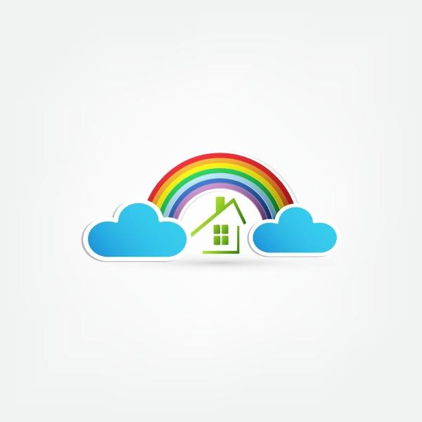 regenbogen und wolken am himmel